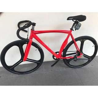 Red Fixie with Tri-spoke rims