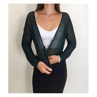METALICUS Deep Green Metallic Cropped Button Front Knit Cardigan Sz 12-14
