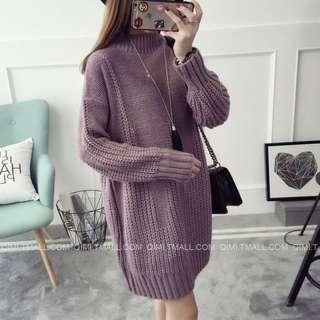 香芋紫色半高領套頭毛衣中長款