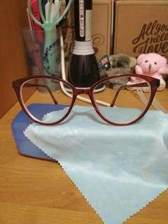 Kacamata Minus 2,75 merah marun cat eye