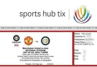 🚚 ICC Manchester United vs Inter Milan Cat 2 Tickets