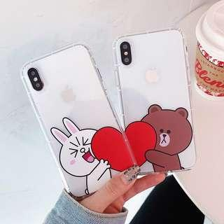 #007 line brown and cony transparent couple phone case