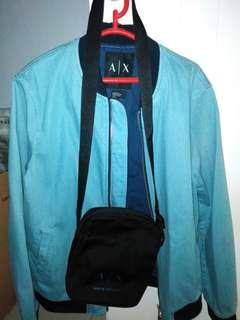 Bomber Denim Armani Exchange plus sling bag AX