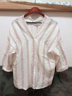 🚚 日系粉白條紋七分袖上衣💕僅穿一次❗️❗️❗️