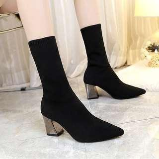 Black Mid-Calf Ankle Sock Boots