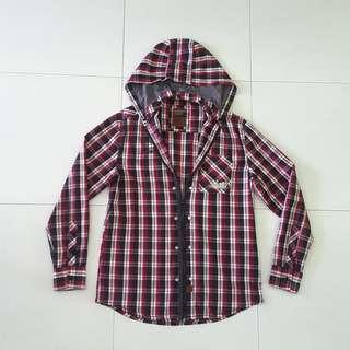 Chargers Outfitters Ladies checkered shirt with detachable hoodie