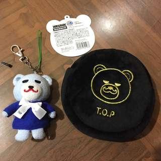 🚚 日本官方 T.O.P KRUNK 絨布圓形收納袋 絨布零錢包 / TOP Doom dada造型 玩偶吊飾 娃娃掛飾