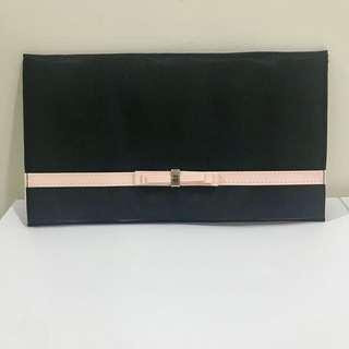 Lancome black clutch / make up bag / pouch with pink ribbon