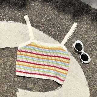 Chic彩虹條紋針織吊带