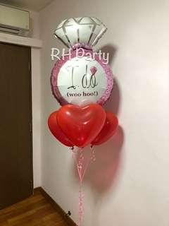 "(4/4) Include helium Pink Proposal Diamond ring ""I do"" + heart latex bouquet (wedding , proposal , engagement)"