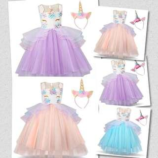 Tutu unicorn princess dress with unicorn hairband