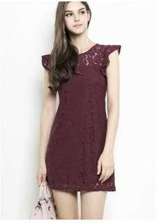 Shopsassydream Maroon Lace Dress