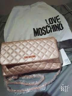 全新現貨實拍   LOVE Moschino玫瑰金側背晚宴包