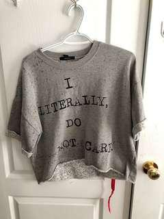 "H&M ""I literally do not care"" top SIZE MEDIUM"
