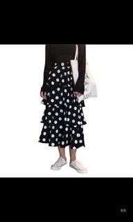 🚚 Spring women's Korean version of the high waist was thin irregular double fishtail skirt wave point cake skirt A word skirt dress