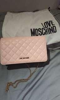 全新現貨實拍 Love moschino氣質粉色晚宴側背斜背包