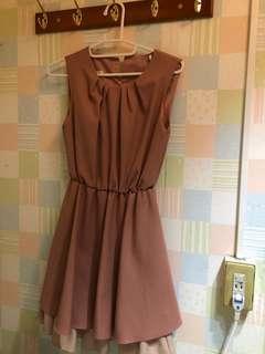 🚚 小女人風珊瑚色洋裝