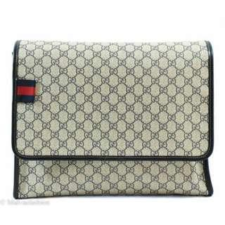 Gucci 246411米藍色GG緹花PVC斜背包/書包