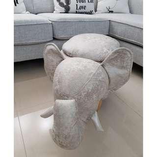 Cute Elephant Animal Stool with Storage