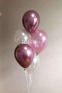 (4/4) Include helium Chrome latex + plain round latex bouquet