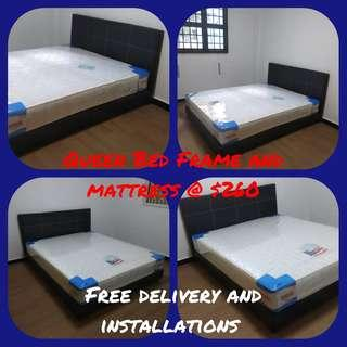 "Queen Bed Frame + 9"" Spring Mattress@ $260"