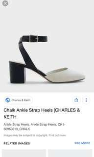 🚚 Charles & Keith chalk ankle strap heels size 36
