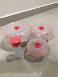Vacuum three pieces plastic container