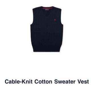 深藍色灰色冷衫返學毛衣 Polo CABLE-KNIT COTTON SWEATER VEST