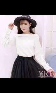 🚚 White Ribbon Sleeves Off Shoulder Blouse Top