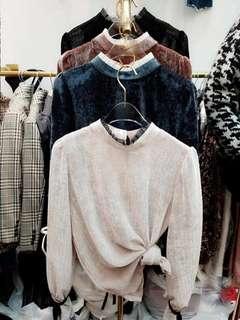 🚚 (sale) 正韓全新品 絲光薄絨衫(藍色)