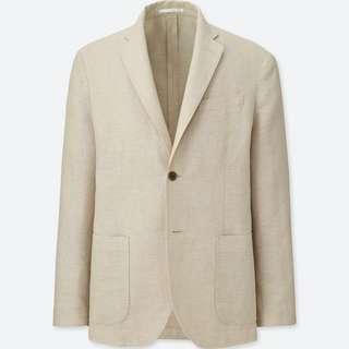 Uniqlo Beige Linen Cotton Slim Fit Jacket (damaged) #APR10