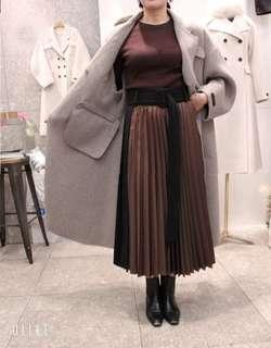 🚚 (sale) 正韓全新品 絲光布×羊毛百褶裙