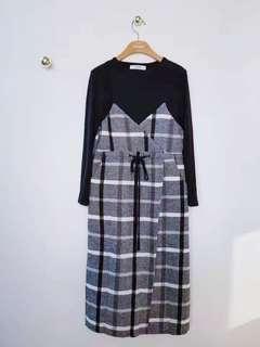 🚚 (sale) 正韓全新品 格紋兩件式洋裝