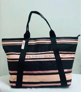 Victoria's Secret Black and Pink Sparkle Stripe Tote Bag