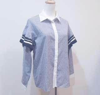 🚚 (sale)正韓全新品 條紋棉衫