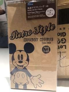 New Disney Mickey & Minnie Mouse 紙包裝袋 5個裝