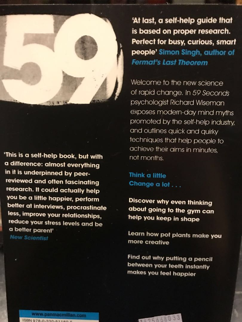 59 Seconds Richard Wiseman 59 seconds : think a little change a lotprofessor richard wiseman