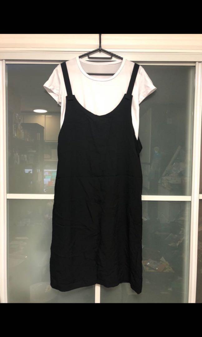 全新黑色吊帶裙套裝(兩件套)包平郵