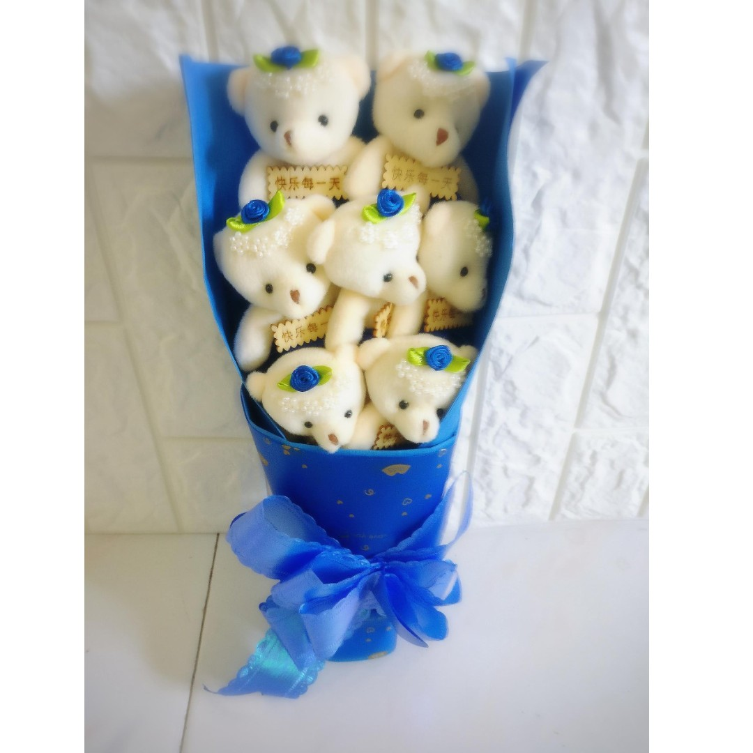 7 Cute Teddy Bear Plushies Roses Bouquet Gift Box Flower For