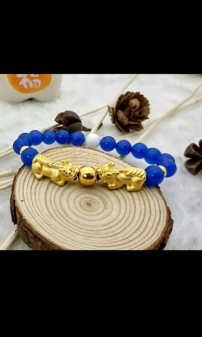 💰发财连串铜钱貔貅💰  🌟足金999 💰发财连串铜钱貔貅💰➕三足金转运珠 / 蓝玛瑙手链 🌟PureGold 999 Lucky Coin Pixiu ➕ 3 Ball Charms / Blue Agate Beads Bracelet  Beads : Agate / 8mm Length : Customized