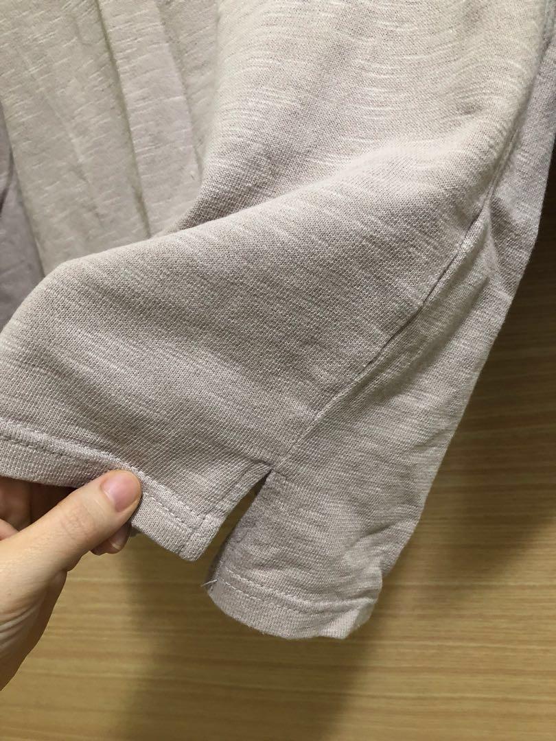 藕粉色棉麻七分袖上衣 #側開岔 #粉紅