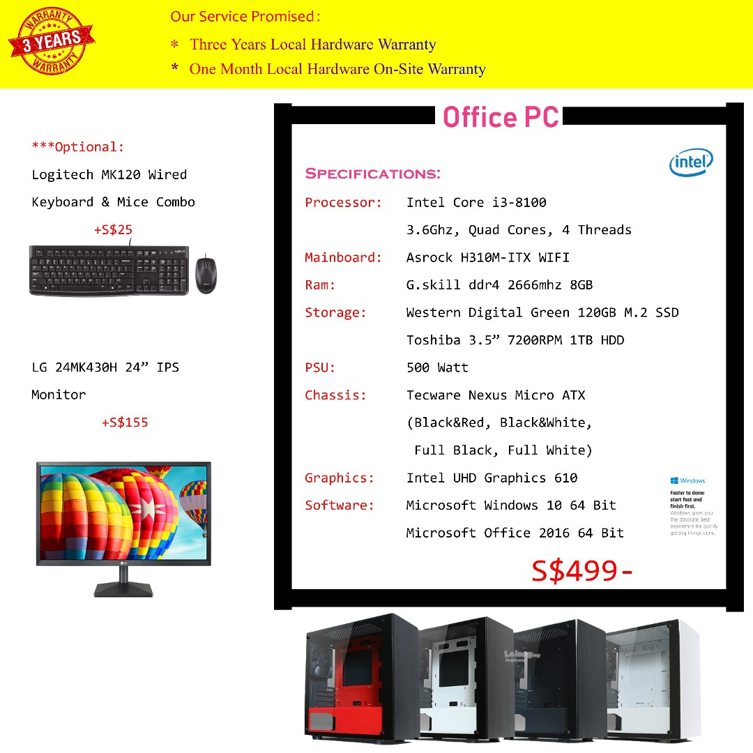 *April Promotion* Office/Home/Streaming/ PC, Intel Core i3-8100