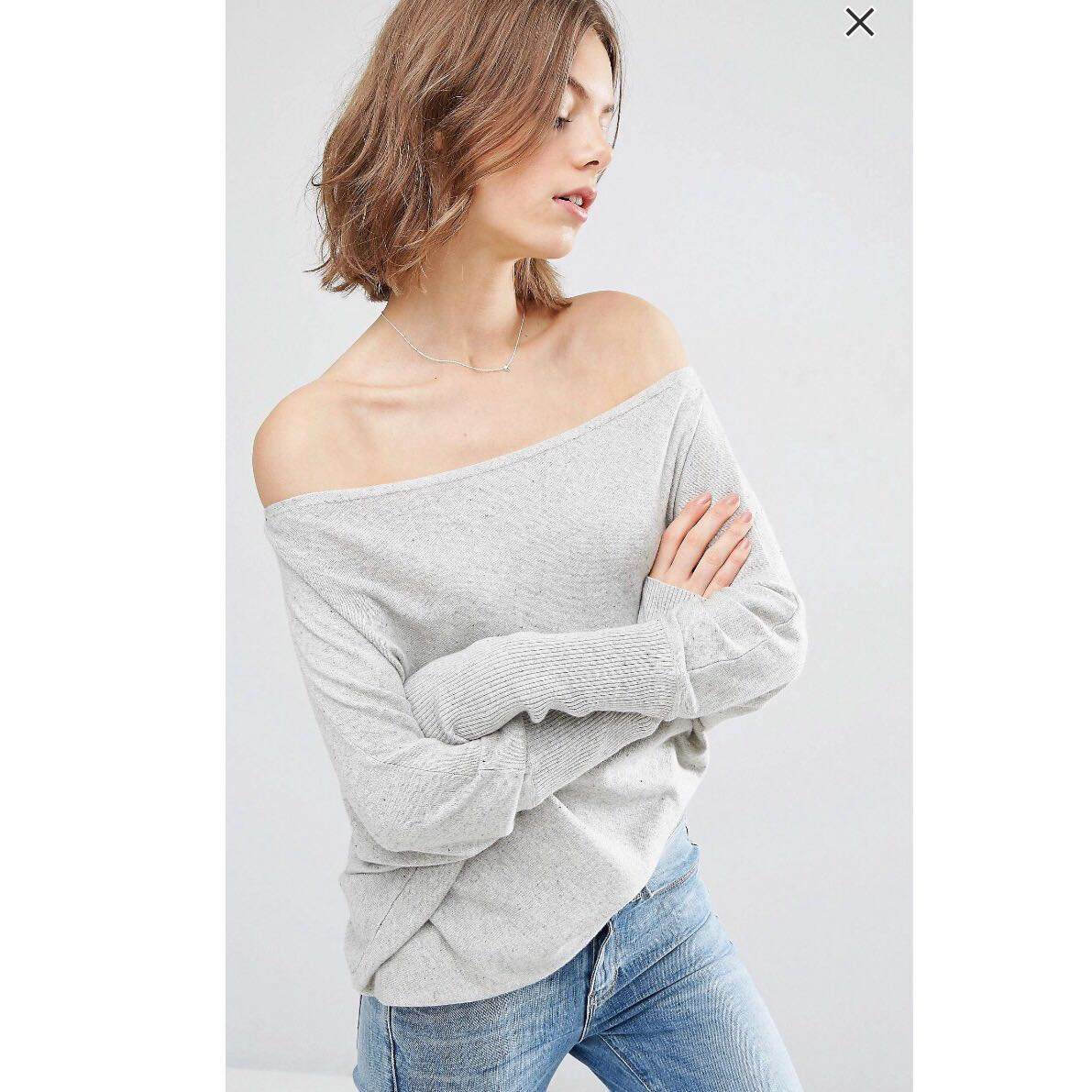 828973d37ba ASOS asymmetric shape off shoulder jumper in grey, Women's Fashion,  Clothes, Tops on Carousell