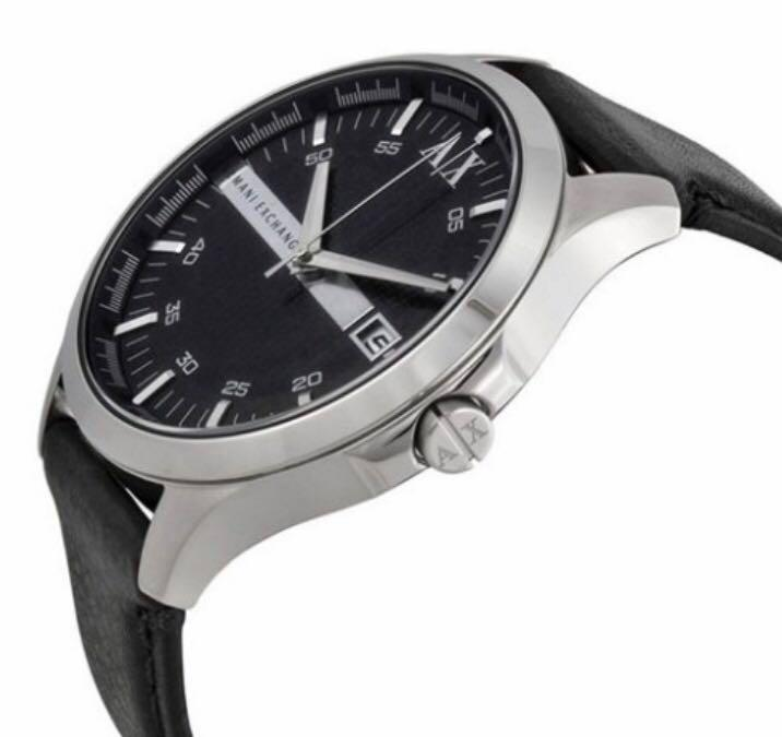 Brand New Armani Exchange AX2101 Watch, Stainless Steel, Black Leather