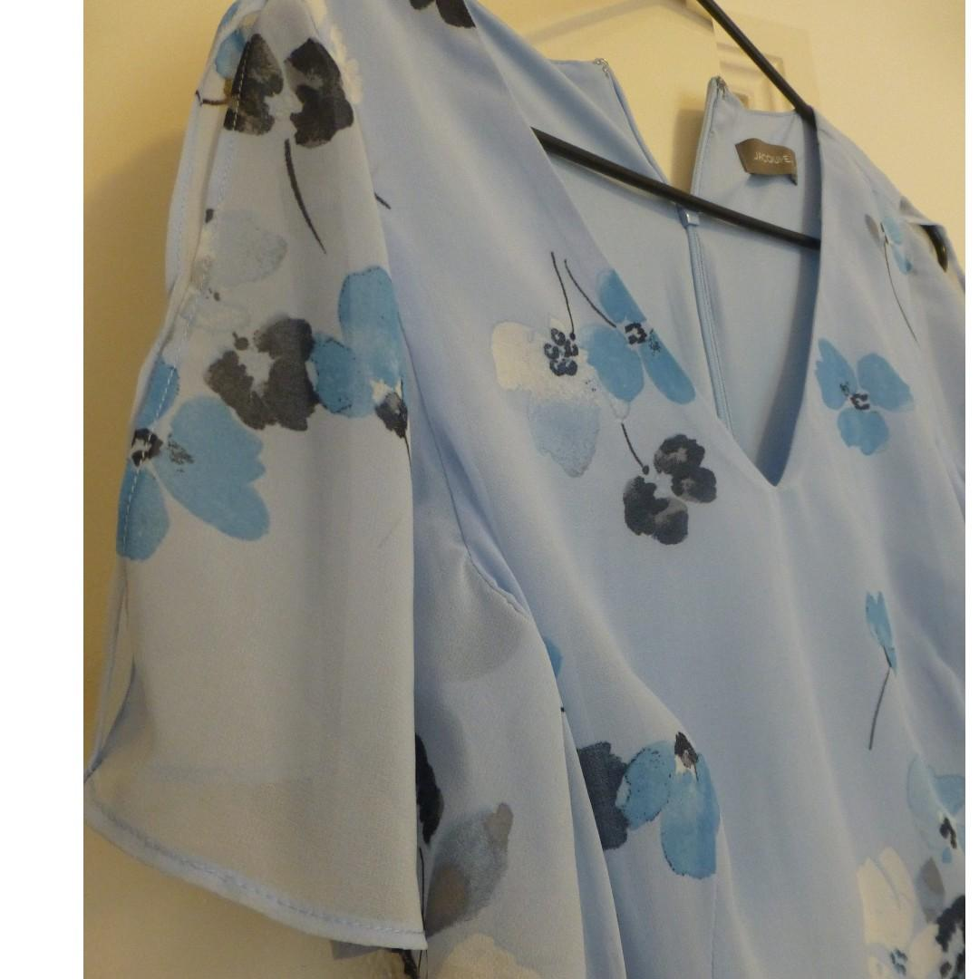 BRAND NEW Jacqui E blue floral tea dress NEW WITH TAGS