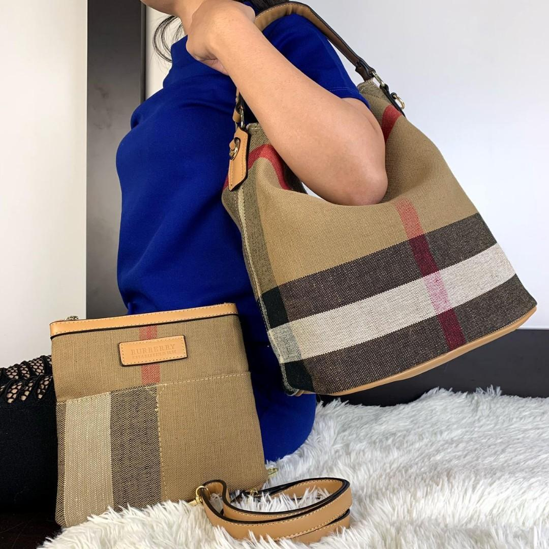 Burberry Ashby Canvas Check Hobo Bag Spring Summer 2019 Set (2 in 1)