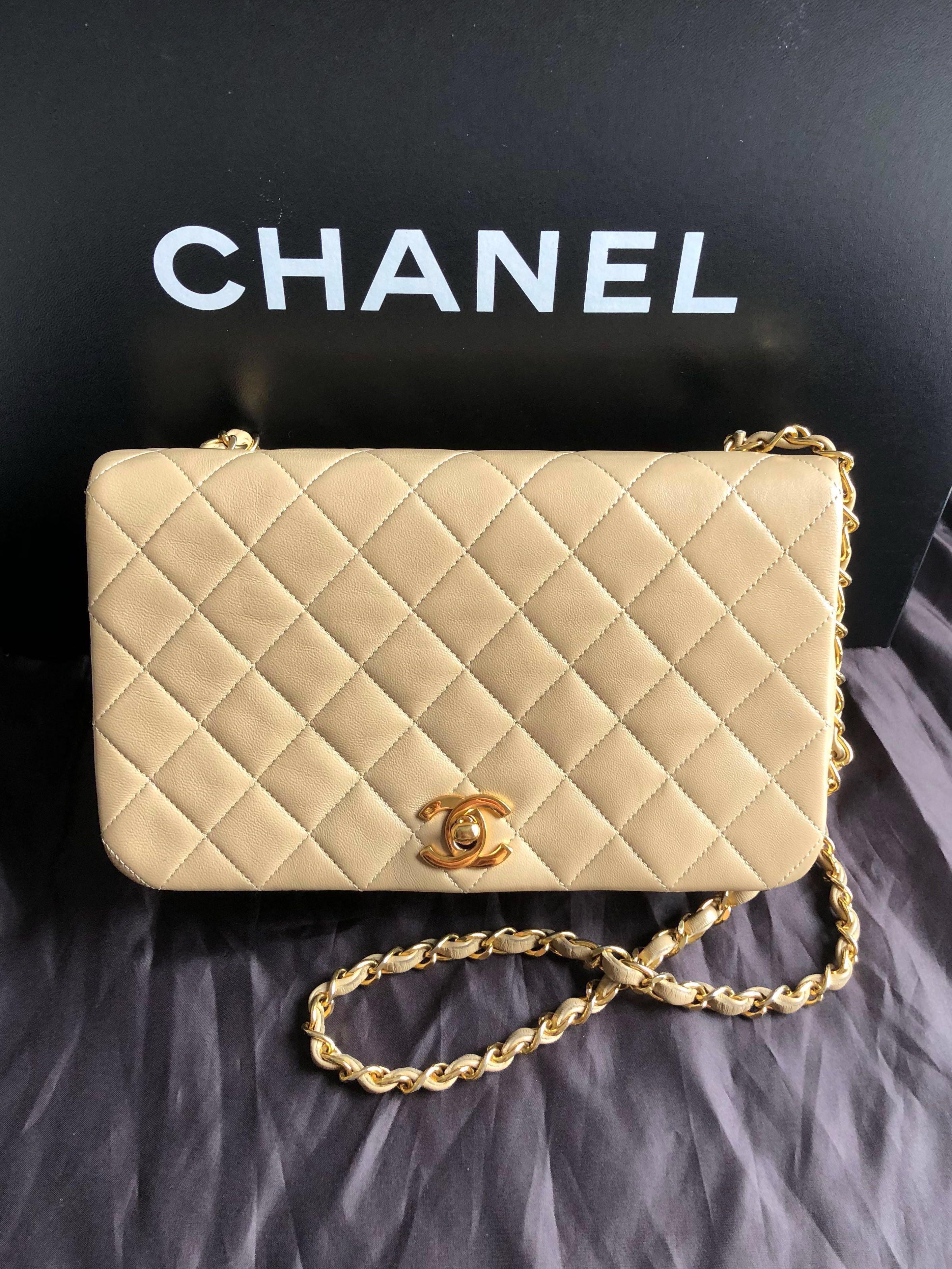 41627ce4872b4f Chanel Beige Vintage 9 Inch Flap Bag in Calfskin, Luxury, Bags ...