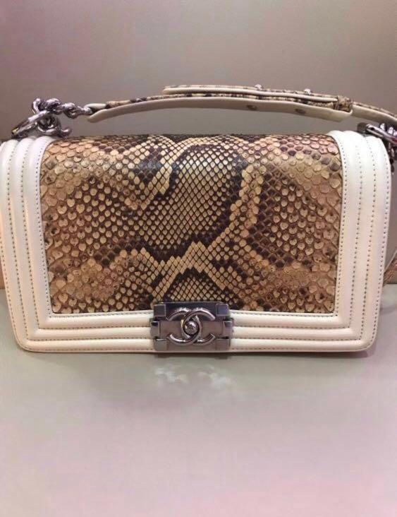 c6dea37cd5f8 Chanel Boy Python medium (10 inch), Luxury, Bags & Wallets, Handbags on  Carousell