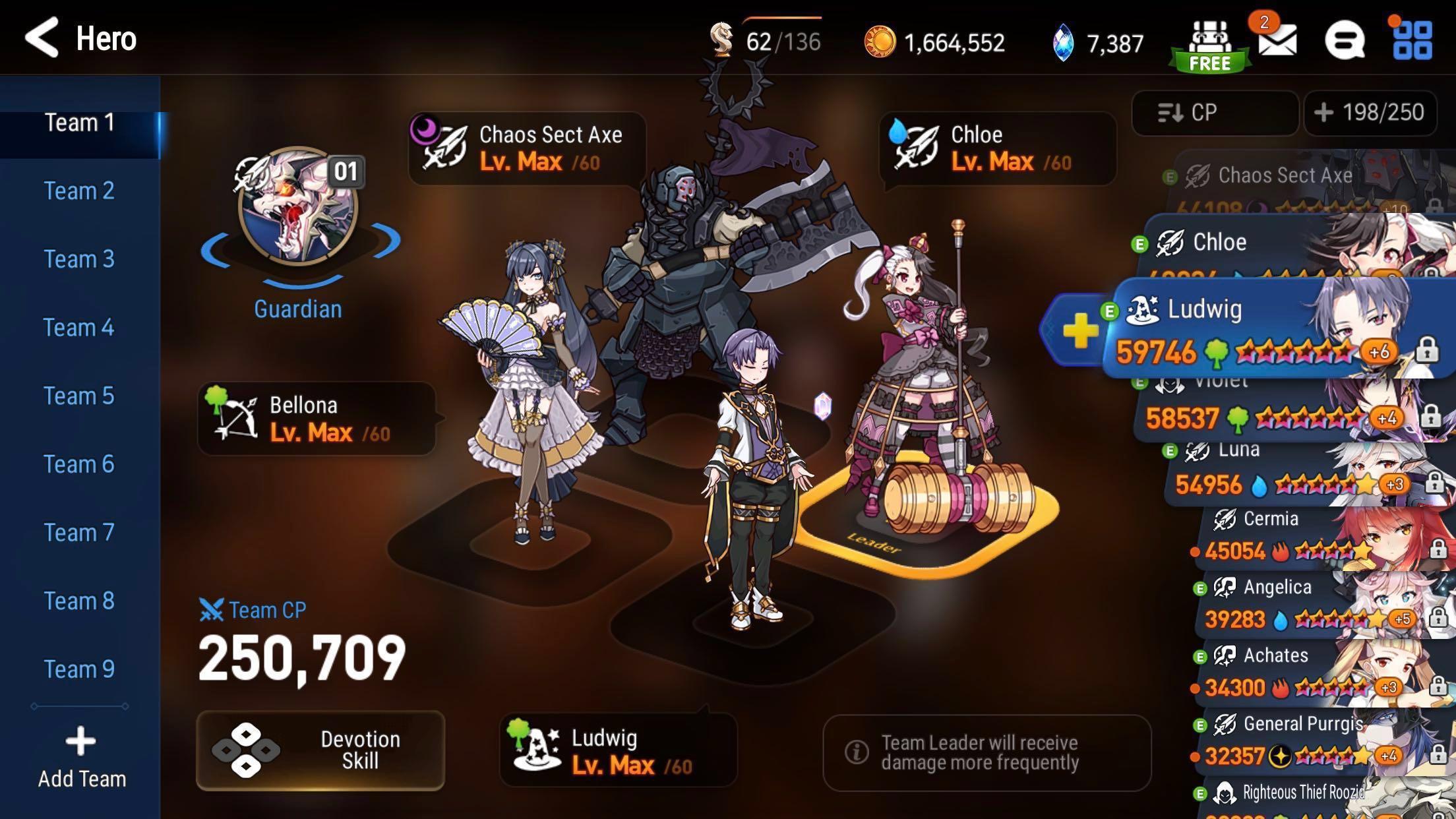 Cheap Epic seven Asia end game account 250k+ cp auto w11