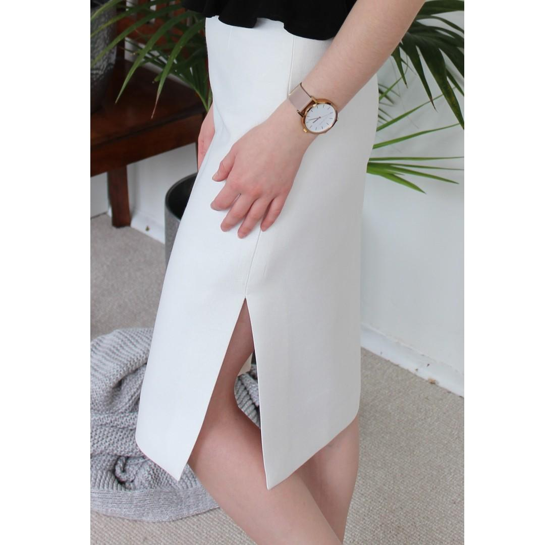 C/MEO Collective white midi skirt with 2 side leg splits